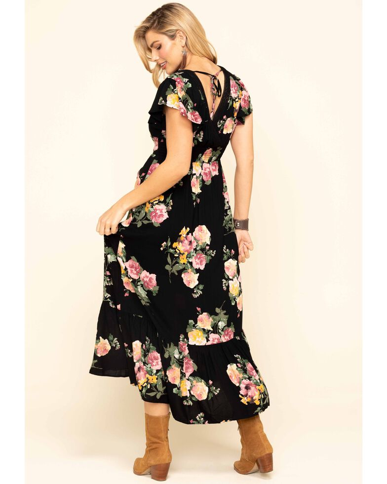 Band of Gypsies Women's Black Floral Print Maxi Dress, Black, hi-res