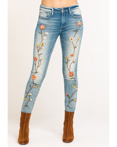 Driftwood Women's Jackie Embroidered Copper Foliage Jeans , Blue, hi-res