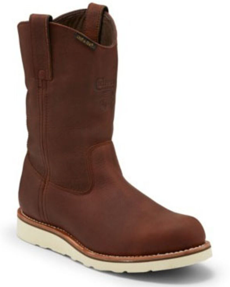 Chippewa Men's Edge Walker Waterproof Western Work Boots - Soft Toe, Brown, hi-res