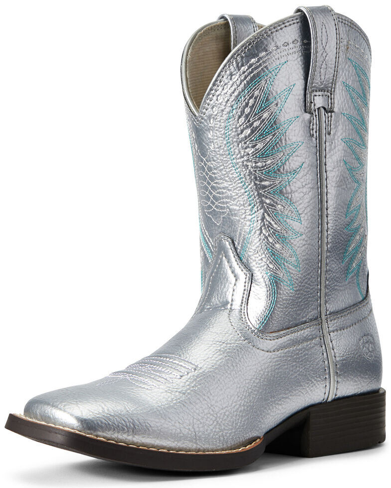 Ariat Youth Girls' Rodeo Jane Western Boots - Wide Square Toe, Silver, hi-res