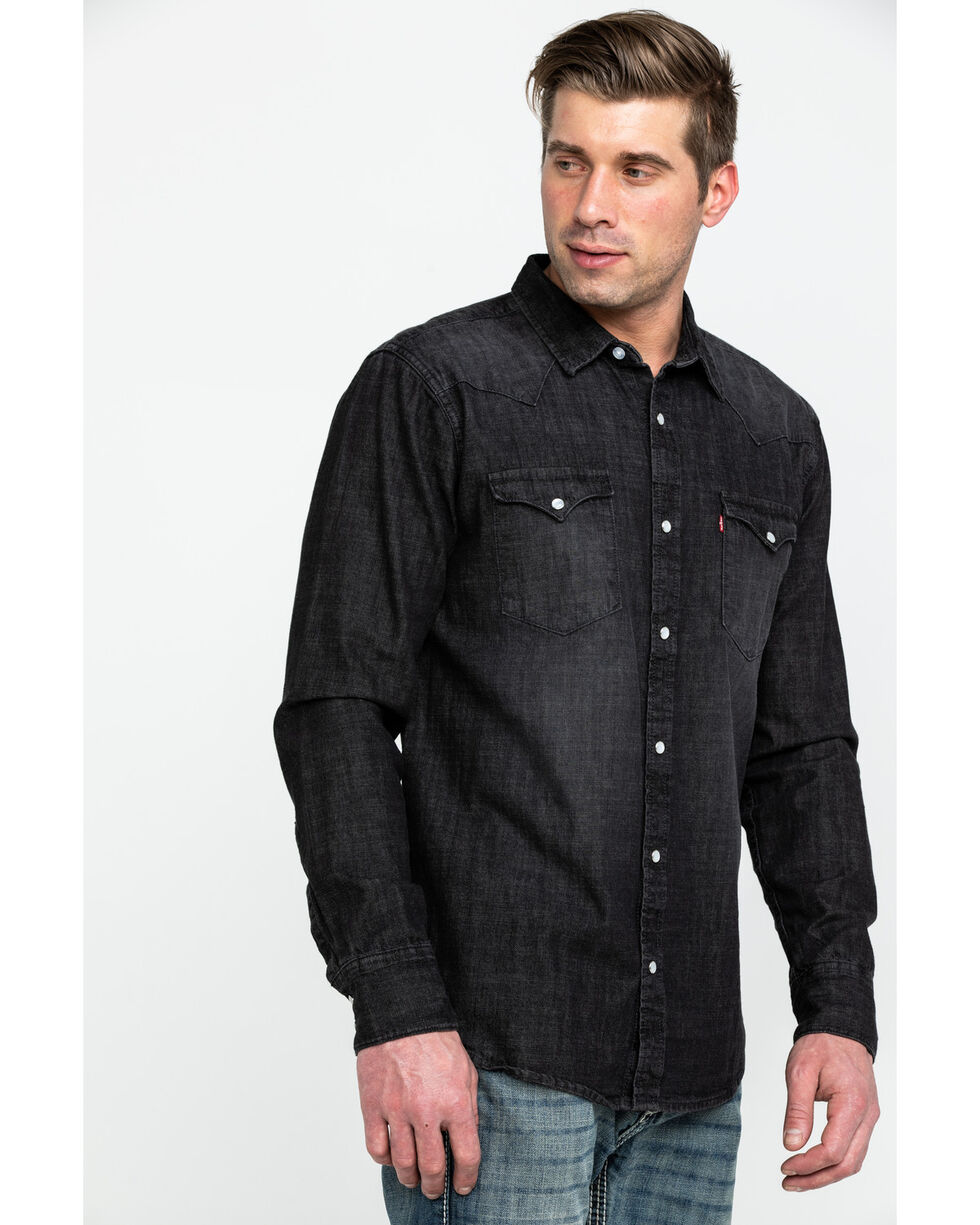 Levi S Men S Smoke Denim Long Sleeve Western Shirt Country Outfitter