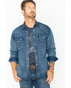 Wrangler Men's Slub Denim Long Sleeve Work Shirt, Antique Blue, hi-res
