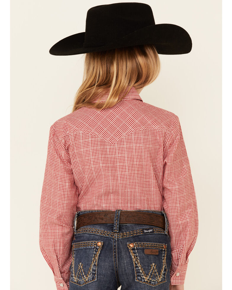 Panhandle Girls' Red Gingham Check Plaid Long Sleeve Snap Western Shirt , Red, hi-res
