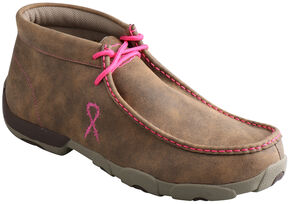 Twisted X Men's Tough Enough to Wear Pink Driving Mocs, Tan, hi-res