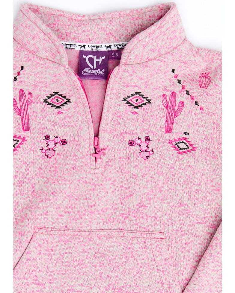 Cowgirl Hardware Girls' Pink Cactus Cadet 1/2 Zip Pullover , Pink, hi-res