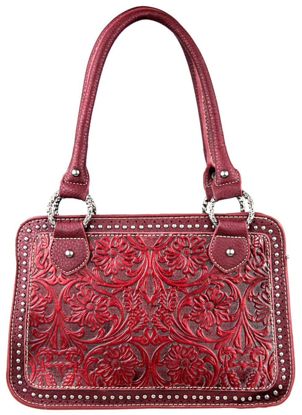 Montana West Trinity Ranch Tooled Handbag with Studs, Red, hi-res