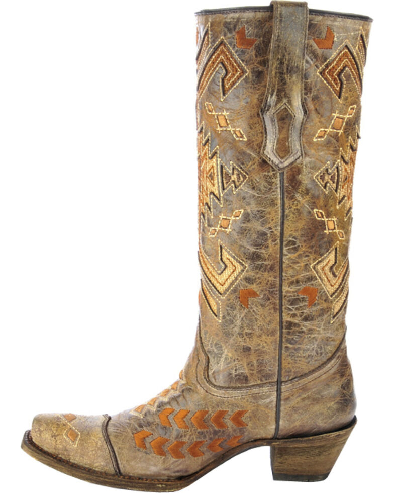 Corral Multicolored Jute Inlay Cowgirl Boots - Snip Toe, Brown, hi-res