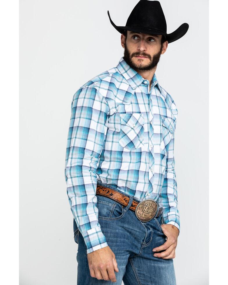 Wrangler 20X Men's Advanced Comfort Blue Med Plaid Long Sleeve Western Shirt , Blue, hi-res