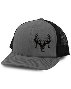 Oil Field Hats Men's Heather Grey & Black Skully Embroidered Mesh-Back Ball Cap , Grey, hi-res