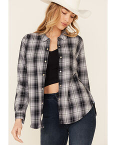 Flag & Anthem Women's Maxie Plaid Long Sleeve Snap Western Core Shirt , Grey, hi-res