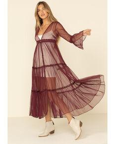 Band of Gypsies Women's Garnet Lace Dress, Dark Red, hi-res