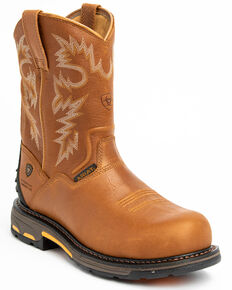 Ariat Men's H20 Workhog Western Work Boots - Composite Toe, Bark, hi-res