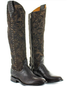 Old Gringo Women's Aria Tall Western Boots - Round Toe, Chocolate, hi-res