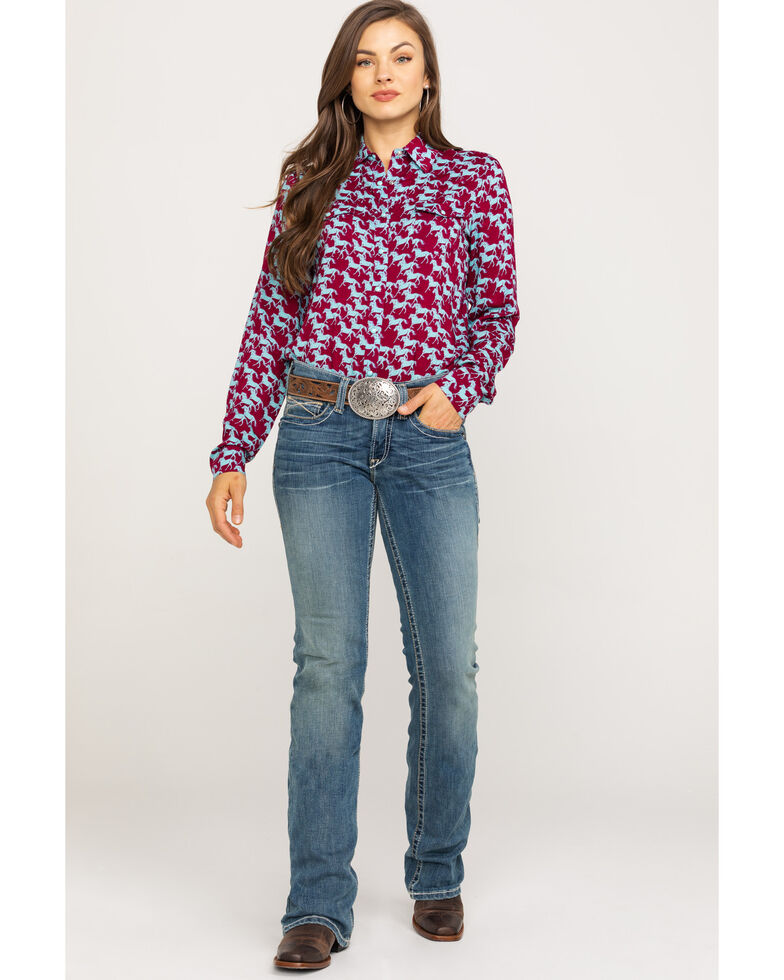 Five Star Women's Stampede Print Long Sleeve Western Shirt, Multi, hi-res