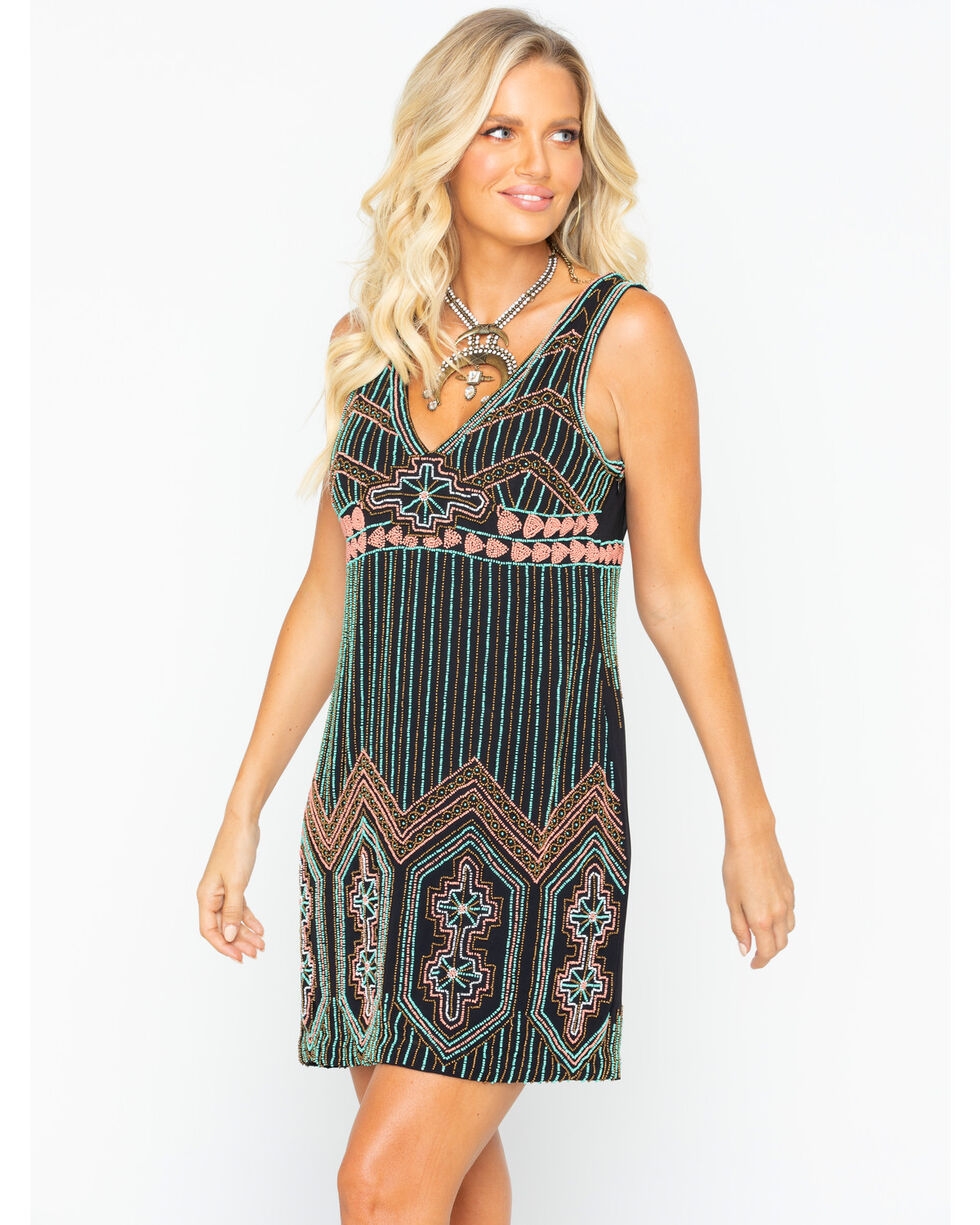Idyllwind Women's On Tour Beaded Dress , Turquoise, hi-res