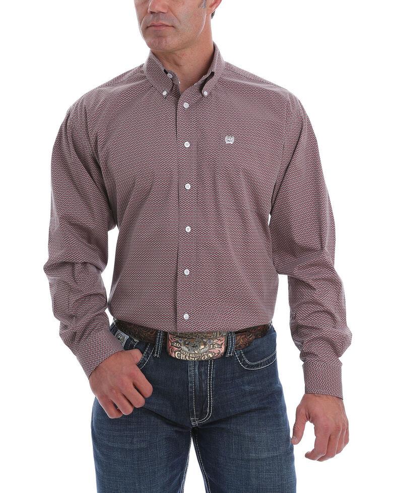 Cinch Men's Burgundy Geo Print Long Sleeve Western Shirt , Burgundy, hi-res