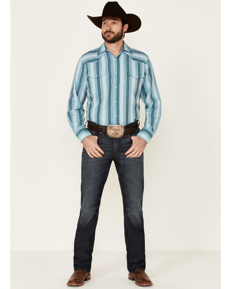 Roper Men's Aqua Ombre Dobby Stripe Long Sleeve Snap Western Shirt , Blue, hi-res