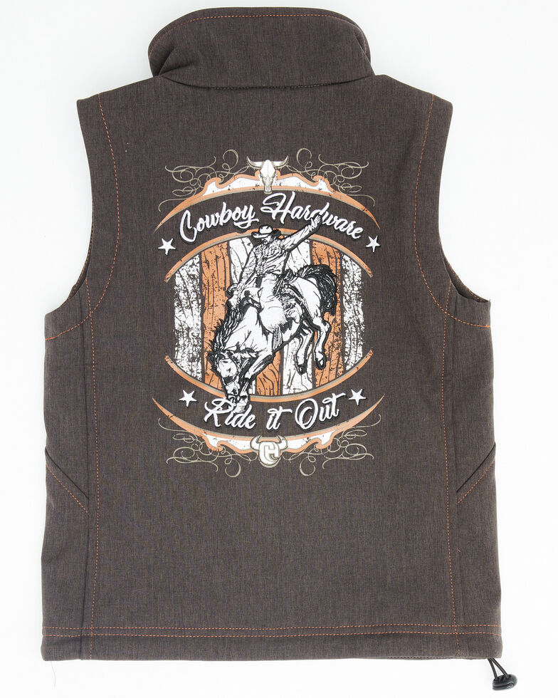 Cowboy Hardware Boys' Ride It Out Embroidered Zip-Up Vest  , Brown, hi-res