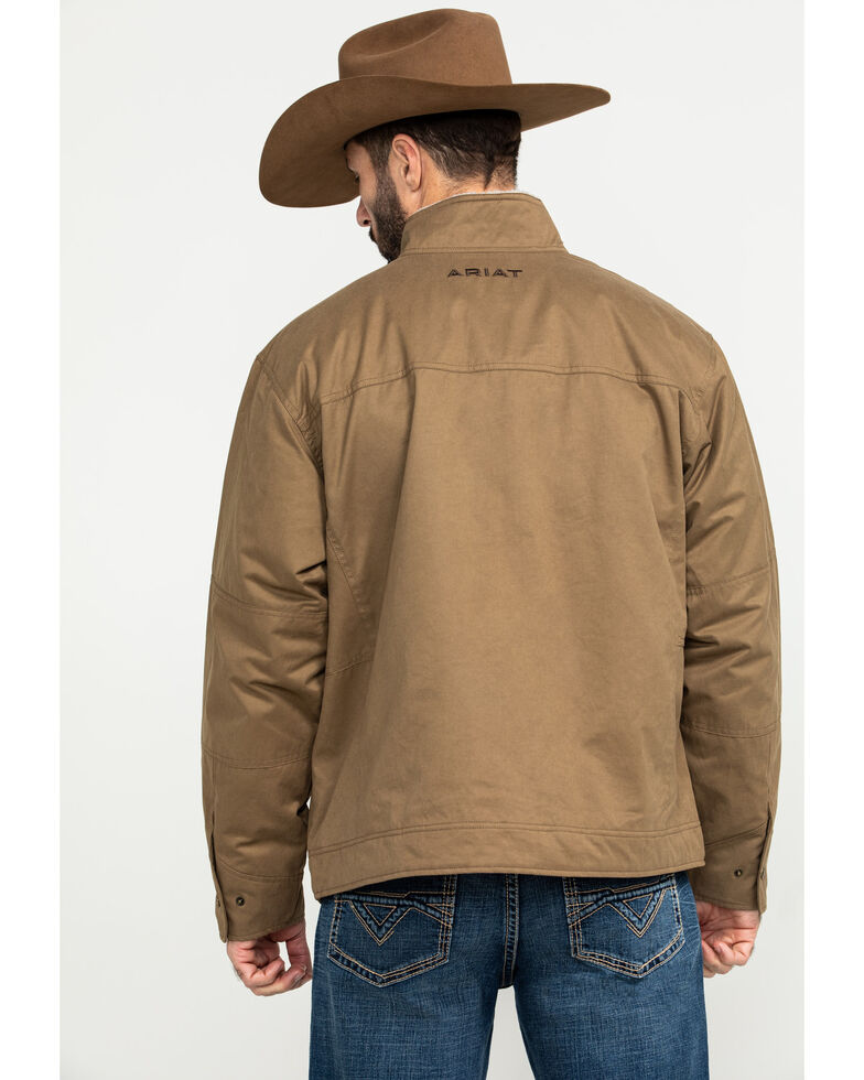 Ariat Men's Grizzly Canvas Sherpa Jacket , Brown, hi-res