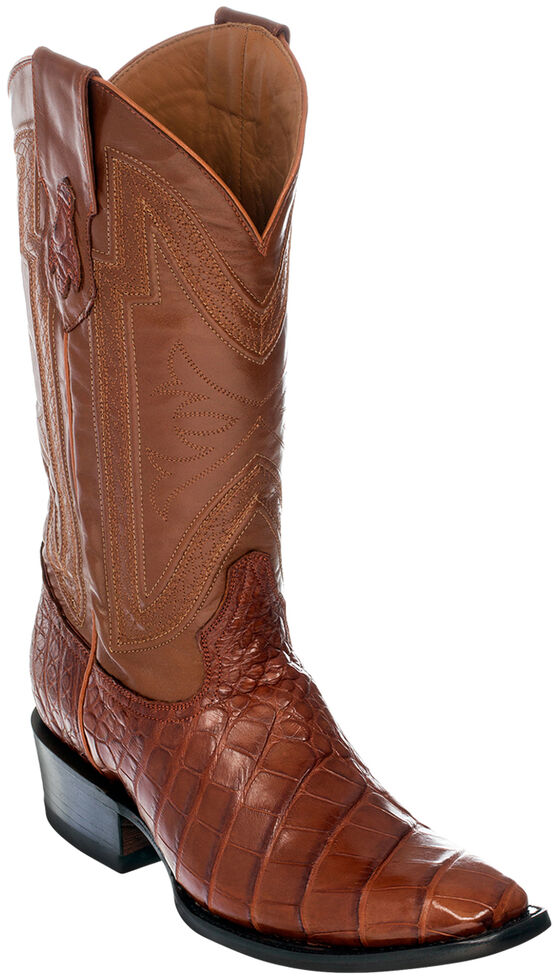Ferrini Alligator Belly Exotic Cowboy Boots - Square Toe, Cognac, hi-res