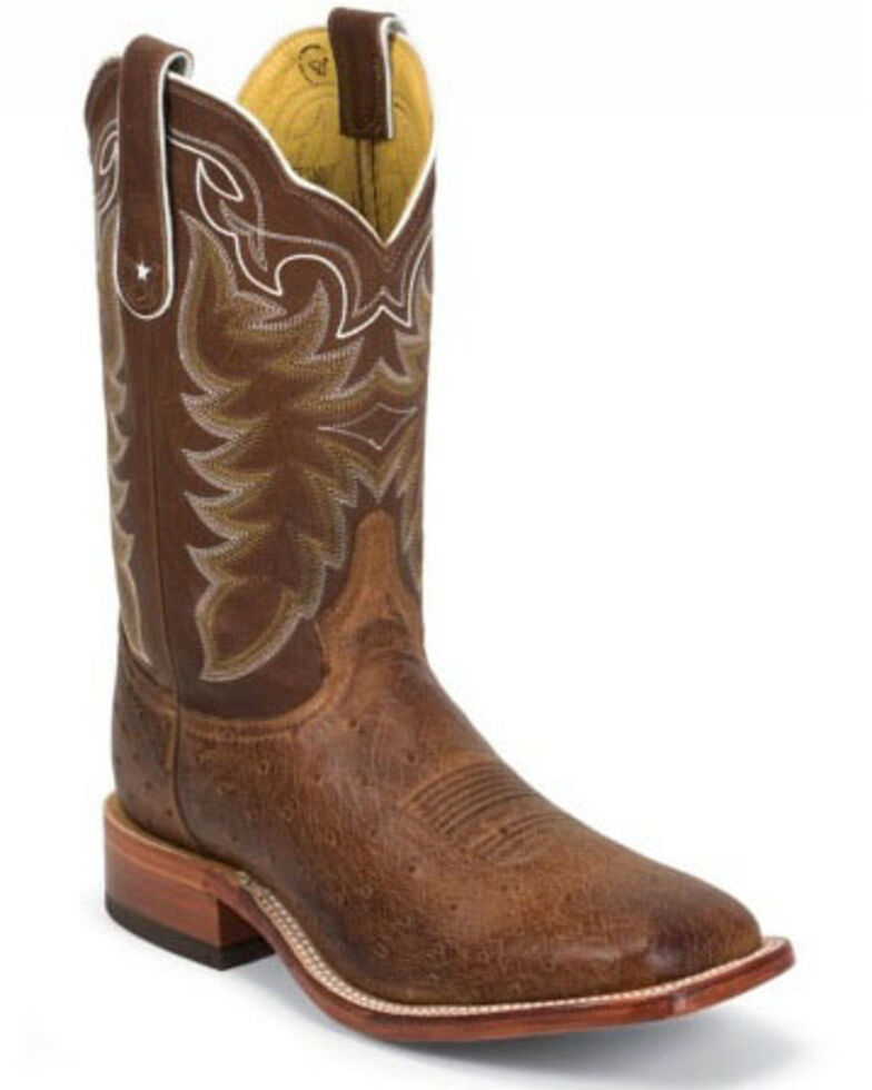 Tony Lama Men's Thoroughbred Smooth Quill Ostrich Cowboy Boots - Square Toe, Brown, hi-res