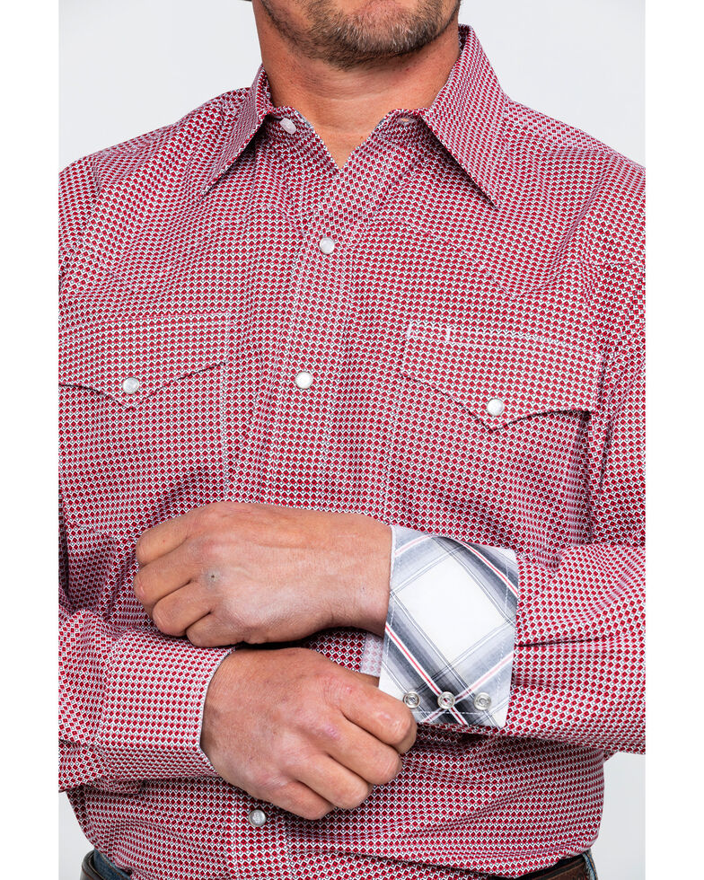 Stetson Men's Small Geo Print Long Sleeve Western Shirt , Red, hi-res