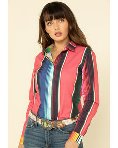 Ranch Dress'n Women's Serape Print Long Sleeve Shirt - Plus, Multi, hi-res