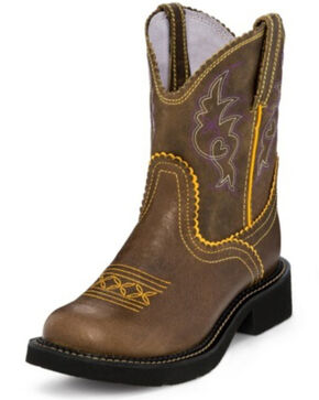 Justin Women's Gemma Buffalo Western Boots - Round Toe, Tan, hi-res
