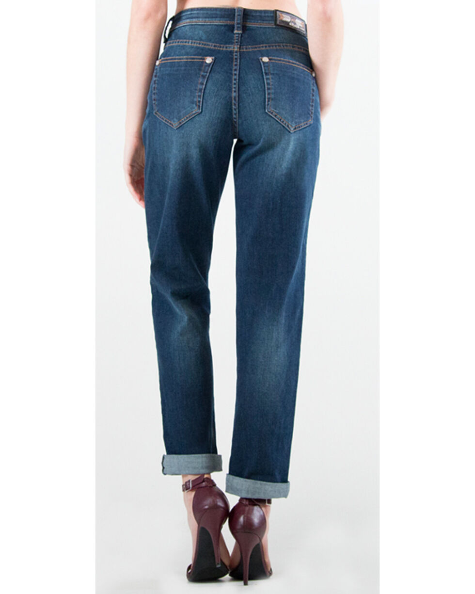 Grace in LA Women's Dark Blue Boyfriend Jeans - Straight Leg , Dark Blue, hi-res