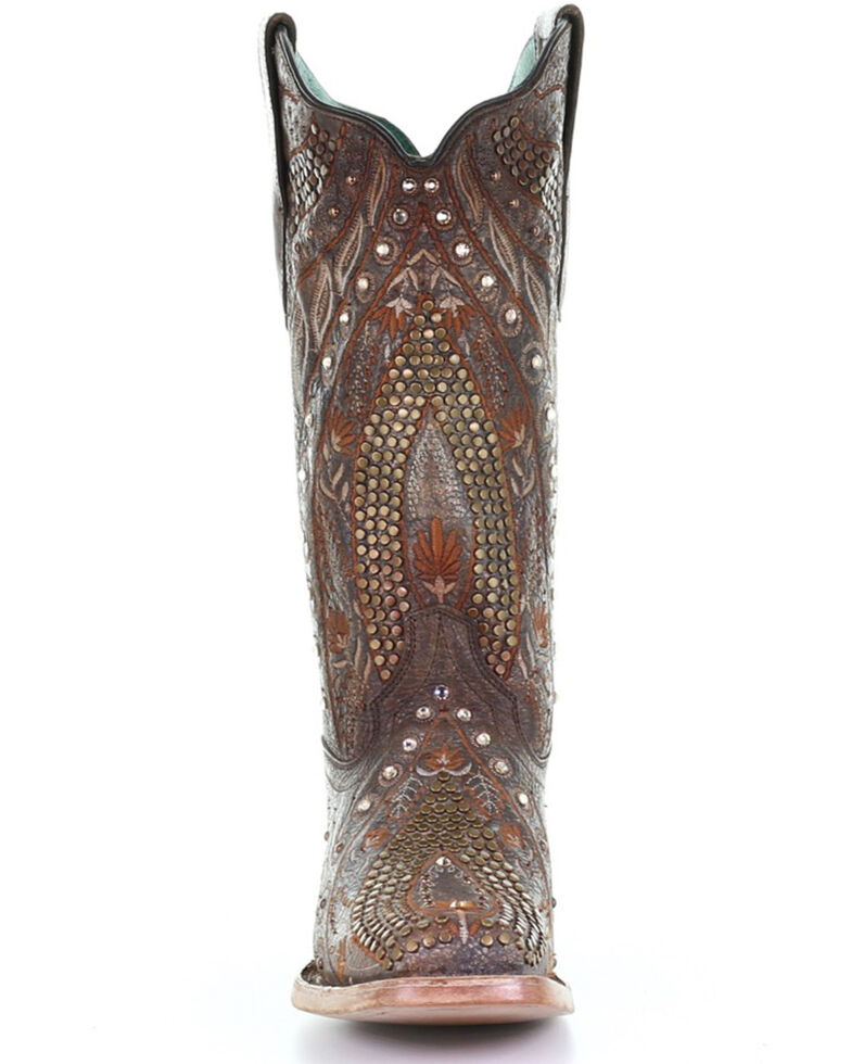 Corral Women's Copper Studded Embroidered Cowhide Western Boots - Square Toe, Tan/copper, hi-res