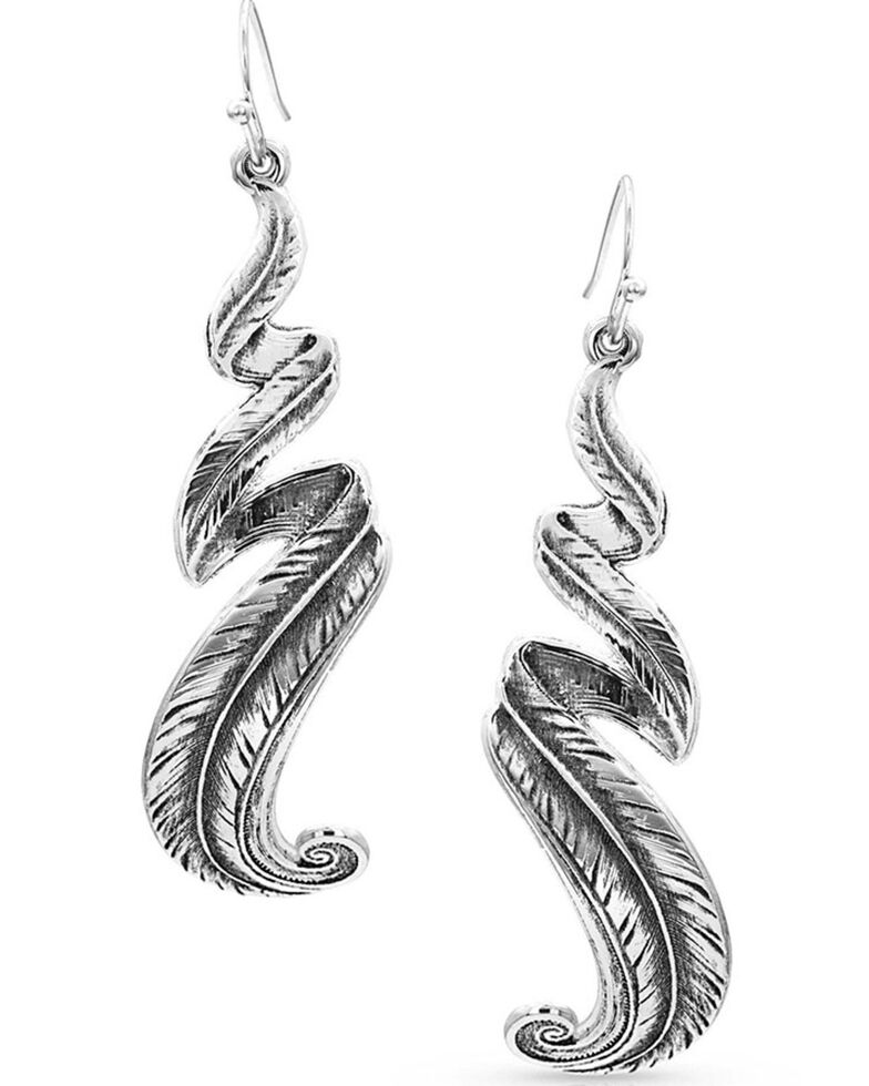 Montana Silversmiths Women's Free Spirit Feather Earrings, Silver, hi-res