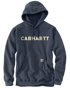 Carhartt Men's Blue Loose Fit Midweight Logo Hooded Work Sweatshirt , Blue, hi-res