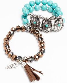 Shyanne Women's Hidden Treasure 2fer Concho Stretch Bracelet Set, Silver, hi-res