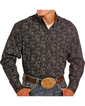 Tuf Copper Performance Men's Black Paisley Print Shirt , Black, hi-res