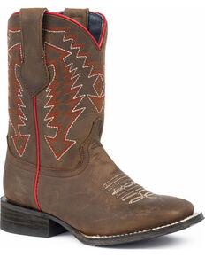 Roper Boys' Arrow Points Oily Brown Cowboy Boots - Square Toe, Tan, hi-res