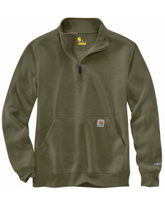 Carhartt Men's Heather Moss Force Relaxed Fit 1/4 Zip Front Work Pullover , Green, hi-res