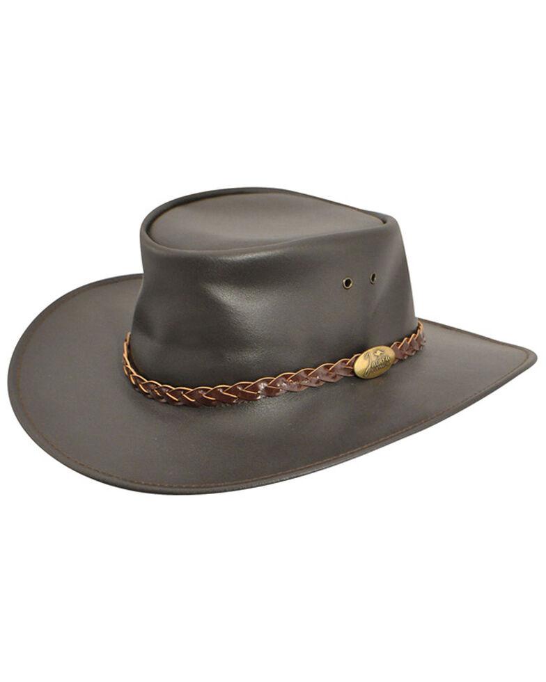 Jacaru Swagman Leather Outback Hat, Brown, hi-res
