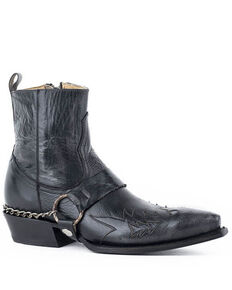 Roper Men's Rockstar Western Boots - Snip Toe, Black, hi-res