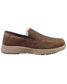 Superlamb Men's Bulgan Ostrich Print Casual Shoes - Moc Toe, Dark Brown, hi-res