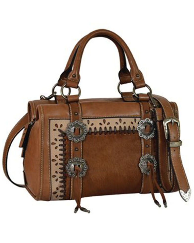 Justin Women's Hair-On Satchel Bag, Brown, hi-res
