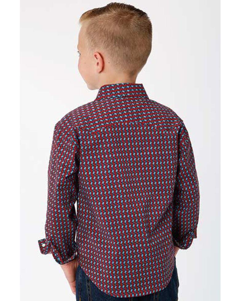 Roper Boys' West Made Octo Geo Print Long Sleeve Western Shirt , Blue/red, hi-res