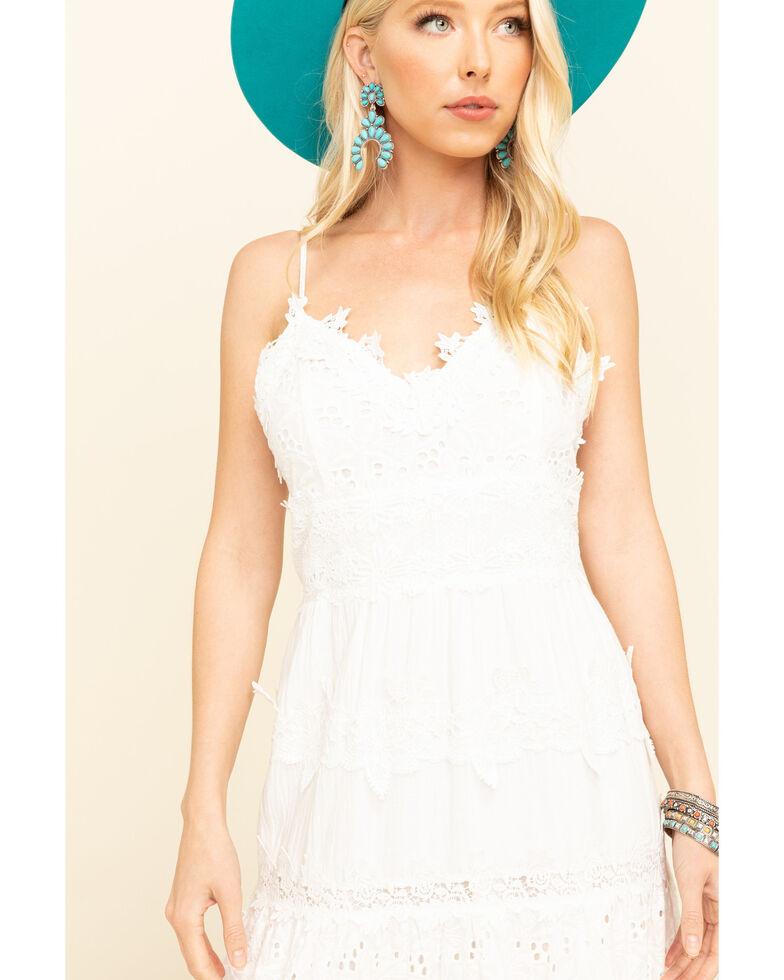 Pol Women's White Crochet Tiered Midi Dress, White, hi-res