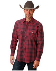 Roper Men's Classic Red Plaid Long Sleeve Snap Western Shirt , Red, hi-res