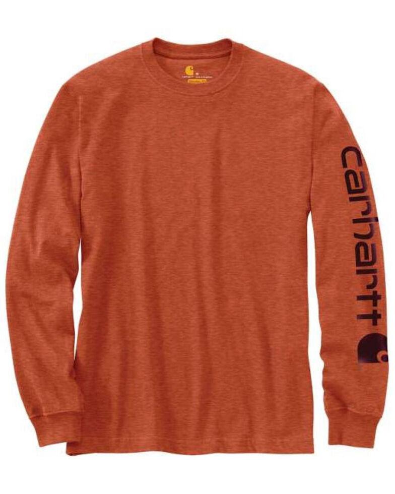 Carhartt Men's Bark Signature Sleeve Logo Graphic Long Sleeve Work T-Shirt , Bark, hi-res