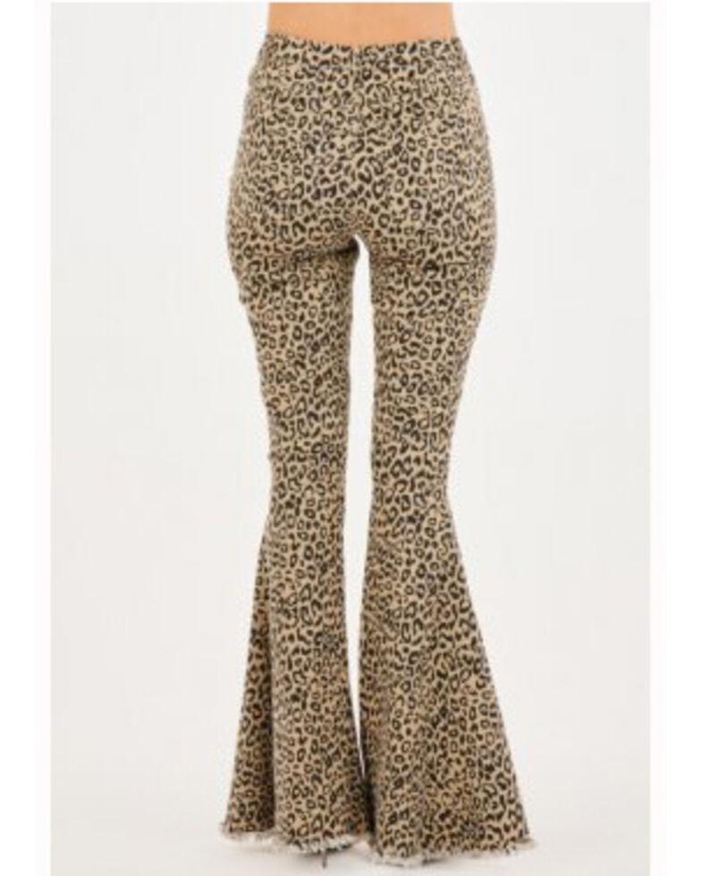 Chrysanthemum Women's Brown Leopard High Rise Flare Jeans , Leopard, hi-res