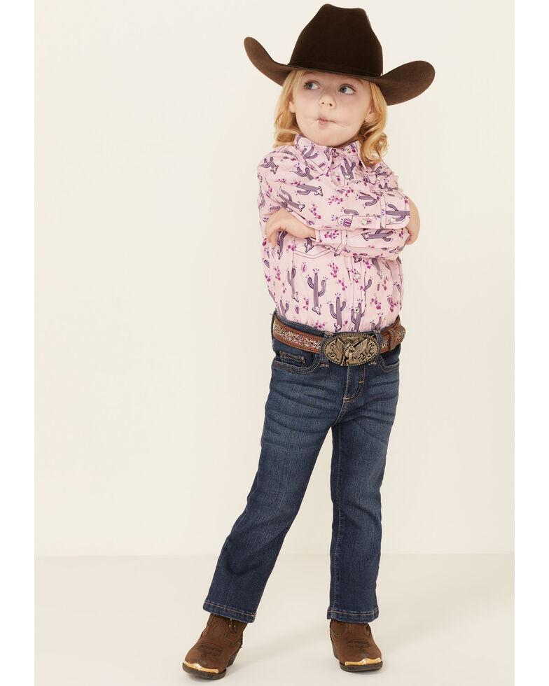 Cowgirl Hardware Toddler Girls' Pink Cactus Print Long Sleeve Snap Western Shirt, Pink, hi-res