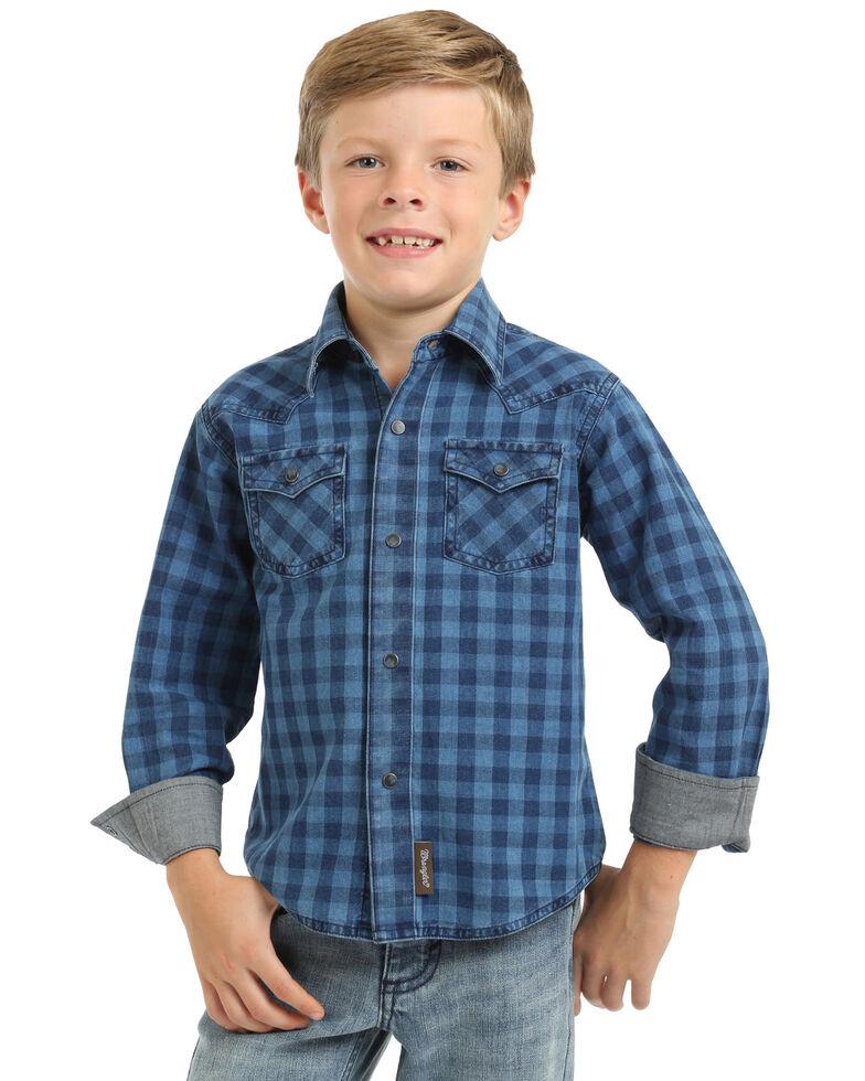 Wrangler Retro Boys' Indigo Check Plaid Long Sleeve Western Shirt , Blue, hi-res