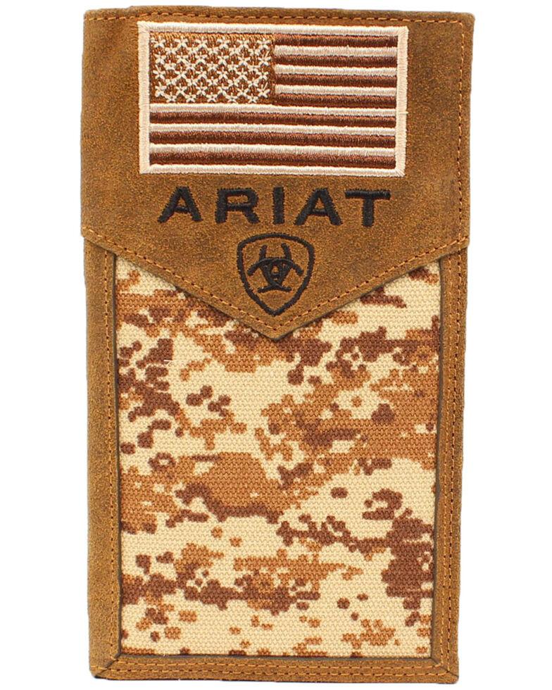 Ariat Men's Rodeo Camo Flag Wallet, Camouflage, hi-res