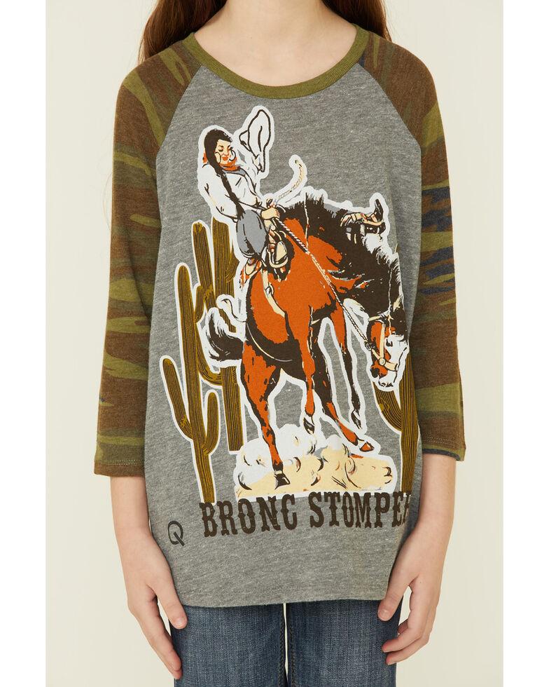 Rodeo Quincy Girls' Buckaroo Graphic Camo 3/4 Sleeve Top , Grey, hi-res