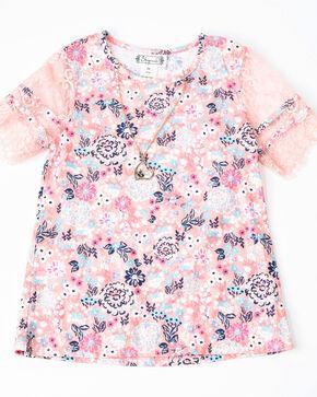 Shyanne Girls' Floral Print Knit Pull On Short Sleeve Shirt , , hi-res